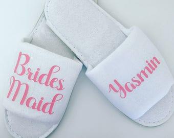 SALE Personalised Wedding Slippers, Bridesmaid Slippers, Bride Slippers, Bridal Party Slippers, Flower Girl Slippers, Bridesmaid Gift