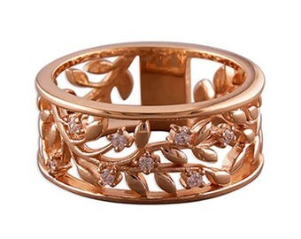 Rose Gold-Plated Leaves with Cubic Zirconia Cut-Out Band Sterling Silver Ring