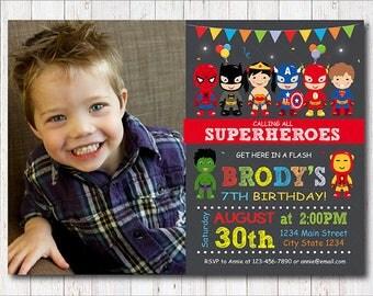 Superheroes Invitation, Superhero Birthday, Superheroes Party, Super hero Invite, Photo Invitation, printable