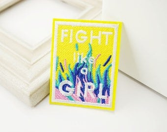 FIGHT LIKE A GIRL Embroidered  Patch VNEM089