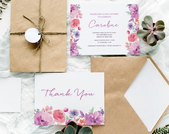 Printable Invitation and Thank You Set | Floral Thank You Card | DIY printable | Wedding Shower Invitation Set | Script | Handwriting