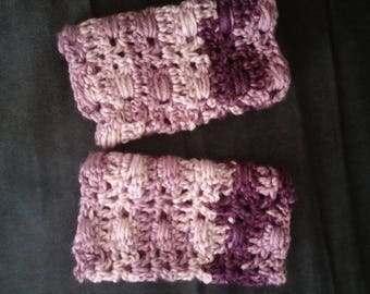 Purple Gradient Cluster Wraps Crochet Hand Warmers