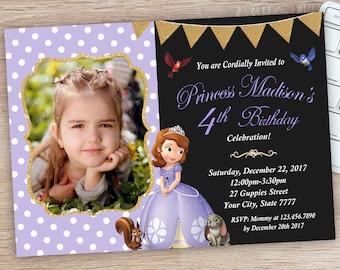ON SALE 30% Sofia the First Invitation - Princess Sofia Invitation - Sofia Birthday Party Invitations - Sofia Invites