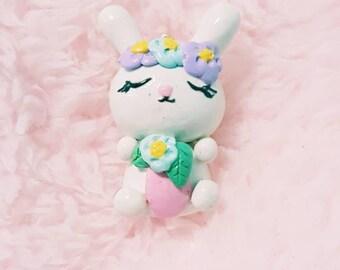 Floral Charm, Bunny Charm, Flower Bunny, Planner Charms, Polymer Clay Charms, Kawaii Charms, Animal Charms