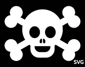 Happy Pirate Flag SVG file, Pirate SVG, Skull and bones SVG, Pirate Birthday Svg, Pirate Party Svg, Printable Pirate Flag clipart pdf dxf