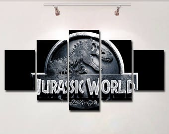 Jurassic World poster canvas wall art print painting wall hanging home decor High Quality 5 piece set birthday Gift kids room
