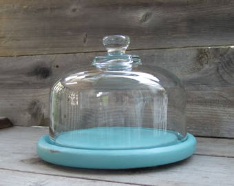 Upcycled Glass Cloche / Chalk Painted Teak Wood Base / Light Blue / Shabby Chic / Hand painted / Beach Cottage Decor /Farmhouse