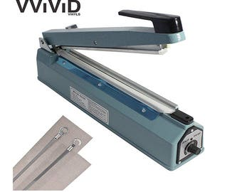"Impulse Heating Bag Sealer Mylar Plastic Heat Seal REV 12"" Machine with Extra Metal Elements & Teflon Strips VViViD"