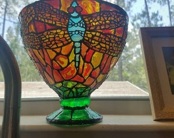 dragonfly faux stained glass bowl