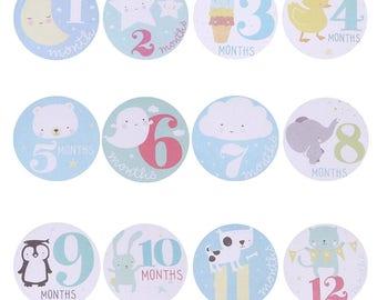 12PCS  Decoration DIY Craft Baby boy Month Stickers decorative stickers