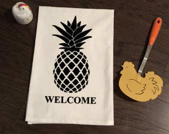 Welcome Pineapple Flour Sack Kitchen Towel