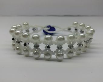Glass pearl and silver swarovski crystal bracelet