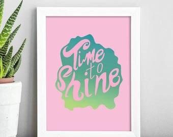 Time to Shine;Wall Art;Wall Hanging;Poster;Print;Home Decor;Wall Decor;Unicorn