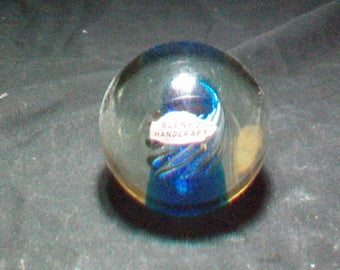 Blenko West Virginia Blue Spiral Paperweight Original Tag