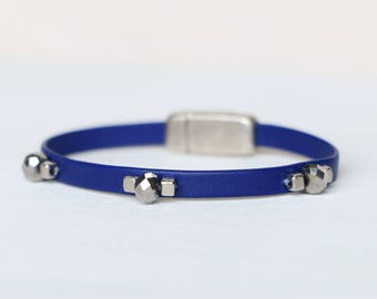 Dainty Midnight Blue Leather Bracelet