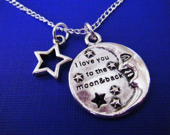 "Antiqued silver charms with 18"" silver plated chain necklace I Love You To The Moon And Back"