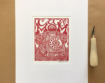 Call Mom Dorm Art|Call Your Mother Print|Retro|Vintage|Humorous|Funny|Handmade|Linocut|Block Printed|Hand Printed|Back to School|College|Red