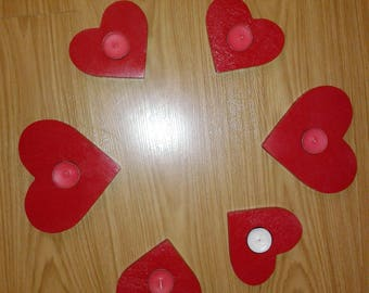Red Heart Shaped Candle Holders for Tea Lights