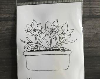 Impression Obsession Floral Arrangement Rubber Cling Stamp