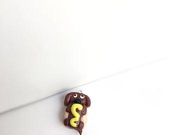 Cute polymer clay hotdog necklace charm