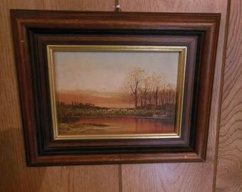 Small Landscape Painting Oil on Masonite Vintage Signed Hamiel
