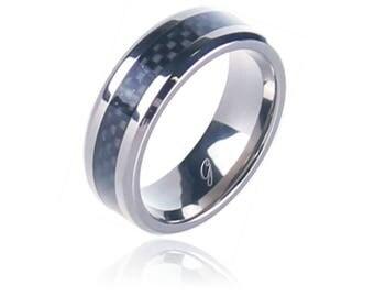 8MM Men Titanium Ring with Black Carbon Fiber Inlay and Beveled Edges