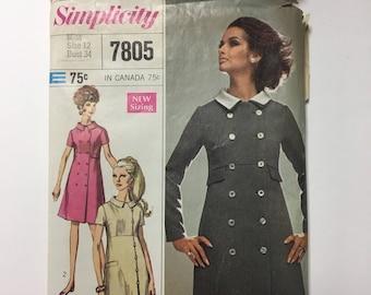 Vintage 1960's 1970's Dress Pattern Simplicity 7805 Designer Coat Dress Double Breasted