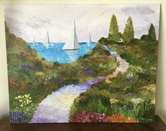 "Hand Painted Acrylic ""Path to Paradise"" 16X20 / unframed garden path to a serene sea of sailboats"