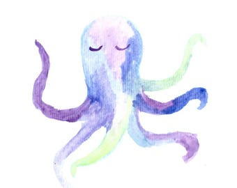 Watercolor octopus print