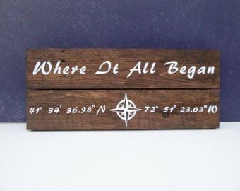 Where It All Began Custom Coordinate Reclaimed Wood Sign