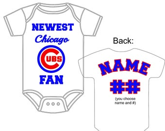Baby boys bodysuits etsy newest chicago cubs fan custom made personalized baseball gerber onesie jersey optional socks hat choose negle Images