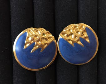 Art Deco - blue and gold earrings