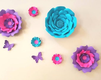 Pink & purple paper flowers wall. Teal large paper flowers wall. Nursery pink flowers wall. Large purple paper flower Baby shower backdrop.