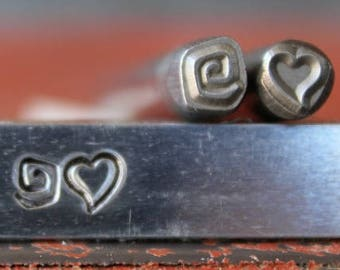 5mm Whimsical Heart and Square Swirl Metal Design 2 Stamp Set - Steel Stamp - SGWM7WM1