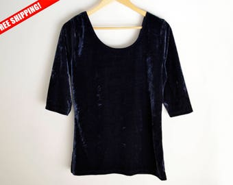 Blouse velvet L M Vintage velvet shirt 90s blouse vintage shirt 90s shirt Dark Blue velvet Vintage shirt 1990 blouse vintage blouse