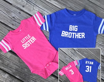 Big Brother Little Sister Kid's Jersey set, Sibling outfits, Personalized Kid's Jersey, Custom T-shirt, Siblings Set, Siblings Jerseys