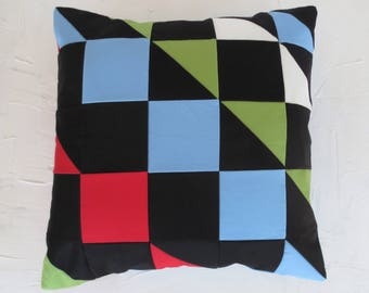 Organic Pillow Cover Multi Mosaic Patchwork 18 in Square