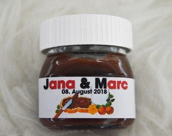 25x Nutella labels for 25g guest gift names