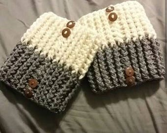 Reversible boot cuffs, boot cuffs, boot socks, crochet boot cuffs
