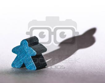 Photo Art Print: Meeple with a Shadow - Color/Blue