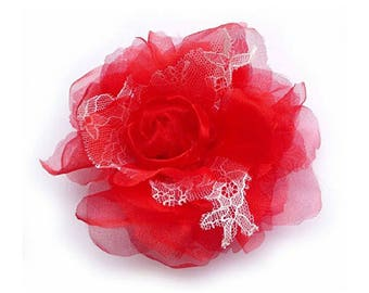 Flower brooch made of organza and lace, red color.