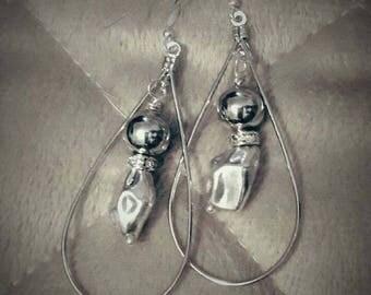 Silver Bead Drop Shaped Earrings