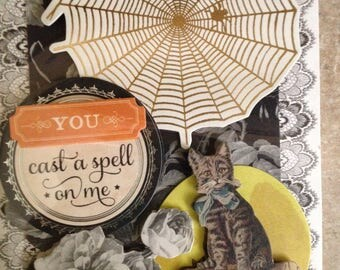 Halloween Card (you cast a spell on me)/3D/Vintage Look/Features a large Spider Web, a touch of Floral and a Cute Cat at Bottom Right