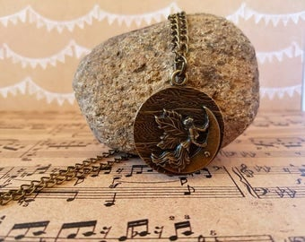Antique bronze fairy pendant necklace