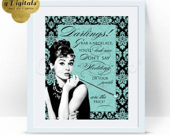 Breakfast at Tiffany's bridal shower games, Pearl Necklace Game SHOWER Audrey Hepburn Necklace game 8x10.  {Damask-Pattern Blue/Black}