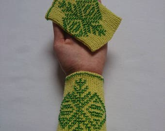 Hand knitted yellow wrist warmers with green glass beads