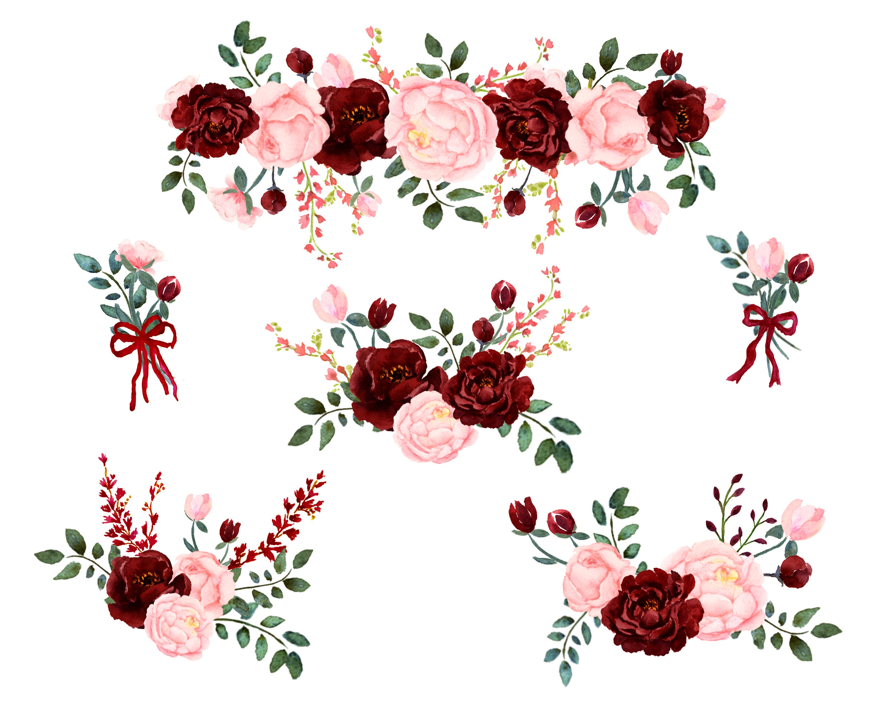 Pink And Burgundy Floral Watercolor Collection Pink Blush