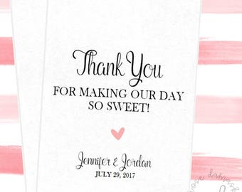 Thank You For Making Our Day So Sweet, Favor Bags, Popcorn Bags, Candy Buffet Bags, Cookie Bags, Wedding Favors, RD046