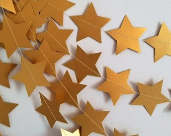 Gold Star Garland, Gold Christmas Wedding Decorations, Holiday Decorations, New Years Party Decorations, Holiday Garland, Christmas Bunting,