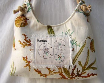 Water Edge Collection, Handmade Fabric Hobo Style Bag, Hobo Purse, Shoulder Bag, Slouchy Silhouette